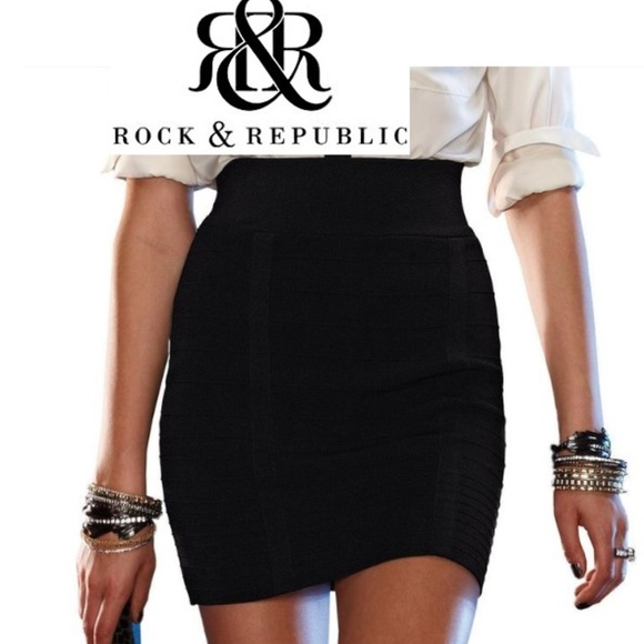 f318b4ae521f15 Rock & Republic Skirts | Rock Republic Xs Black Bandage Mini Skirt ...